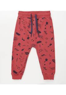 Calça Infantil Estampada Em Moletom Com Cordão Vermelha
