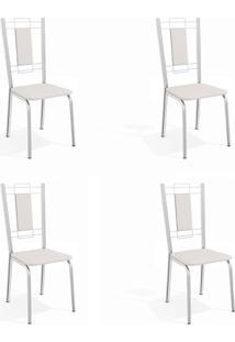 Conjunto Com 4 Cadeiras De Cozinha Florença Cromado E Branco
