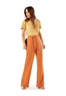 Calça Seda Pijama Com Cinto Marrom Canela