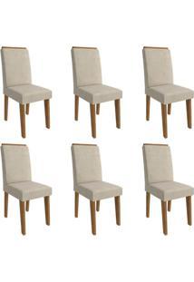 Conjunto Com 6 Cadeiras De Jantar Milena Suede Savana E Bege