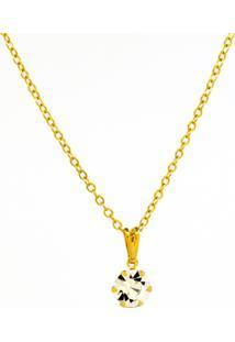 Gargantilha Horus Import Ponto Luz Banhada Ouro Amarelo 18 K - 106015 - Cristal