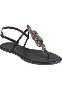 Sandália Mercedita Shoes Flat Com Cobra Coral Feminina - Feminino-Preto