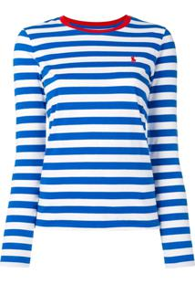 Polo Ralph Lauren Camiseta Listrada Mangas Longas - Azul ee71719f19b1f