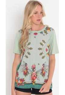 Camiseta Fadas- Verde Claro & Laranja- Colccicolcci