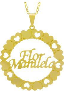 Gargantilha Horus Import Pingente Manuscrito Flor Manuelabanho Ouro Amarelo