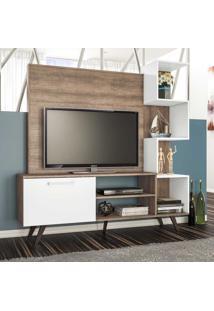 Rack Com Painel Para Tv Até 40 Polegadas 1 Porta Rt3052 Rústico/Branco - Móvel Bento