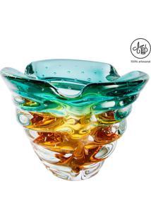 Vaso Texturizado- Verde Água & Âmbar- 26Xø25Cm- Cristais São Marcos