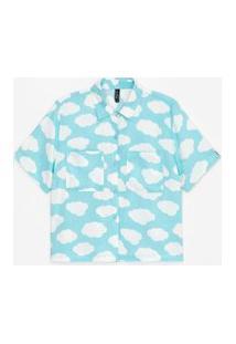 Camisa Cropped Manga Curta Estampa Nuvem Com Detalhe Colorido E Bolsos | Blue Steel | Azul | Pp