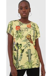 Camiseta Triton Estampada Amarela - Amarelo - Feminino - Viscose - Dafiti