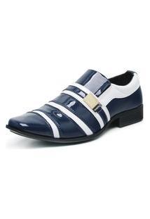 Sapato Social Masculino Envernizado Confortável Marinho/Branco