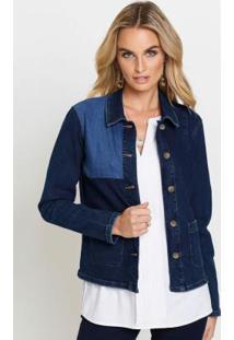 Jaqueta Jeans Com Recortes Azul Médio