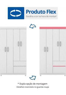 Guarda Roupa Solteiro 4 Portas Lotus Demóbile Flex Color Branco/Rosa