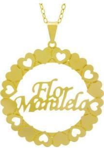 Gargantilha Horus Import Nome Flor Manuela Banho Ouro 18K Feminina - Feminino-Dourado