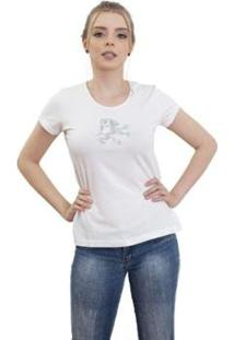 Camiseta 4 Ás Manga Curta Dragão Feminina - Feminino-Branco