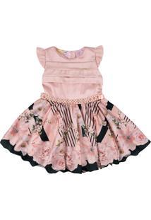 Vestido Estampado De Flores Com Cinto De Pérolas Ser Garota Rosa