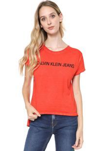 Camiseta Calvin Klein Jeans Lettering Vermelha
