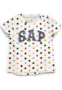 Camiseta Gap Infantil Poá Logo Glitter Off-White