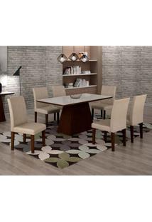 Conjunto De Mesa De Jantar Luna Com 6 Cadeiras Ane I Veludo Castor, Branco E Creme