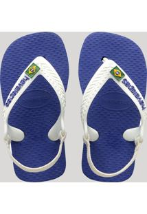 Chinelo Infantil Havaianas New Baby Brasil Logo Com Elástico Azul Royal