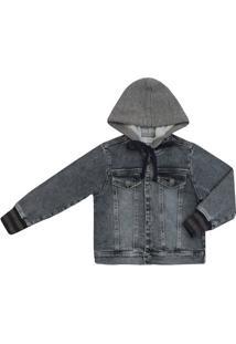 Jaqueta Masculino Infantil Moletom Jeans Com Capuz - Masculino-Preto