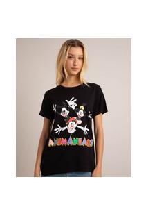 Camiseta De Viscose Os Animaniacs Manga Curta Decote Redondo Preta