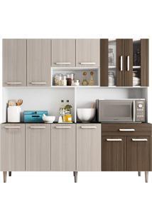 Cozinha Compacta 12 Portas E 1 Gaveta C/ Tampo Clara - Poliman - Branco / Rovere / Amêndoa