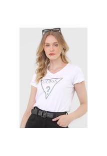 Camiseta Guess Logo Glitter Branca