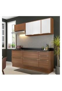 Cozinha Completa Multimóveis Com 6 Peças Calábria 5459R Nogueira/Branco