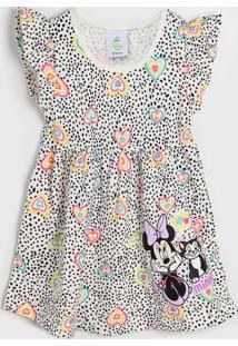 Vestido Brandili Infantil Minnie Off-White
