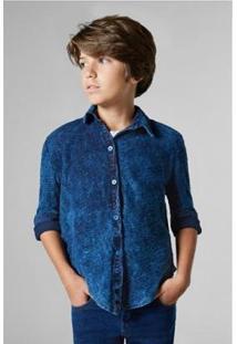 Camisa Sm Flame Lavado Reserva Mini Infantil Masculina - Masculino-Azul