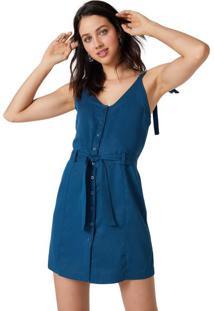 Vestido Mini Sarja Alça Para Amarrar