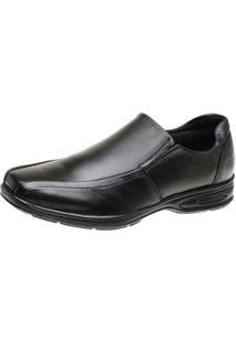 Sapato Social Couro Solado Borracha Conforto Leve San Lorenzo Masculino - Masculino-Preto