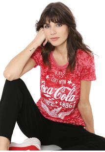 Camiseta Coca-Cola Jeans Devorê Vermelha