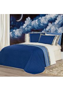 Kit Cobre Leito C/ Travesseiros Monte Carlo Azul Queen 07 Peças - Dupla Face