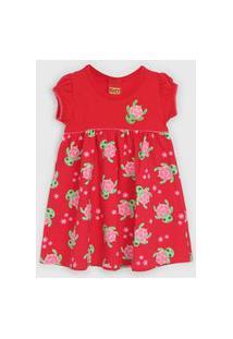 Vestido Kyly Infantil Tartaruguinha Vermelho