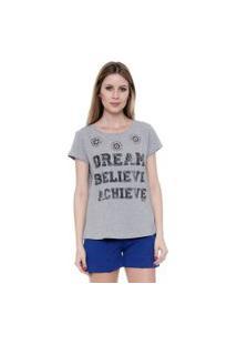Camiseta Bisô Estampada Cinza