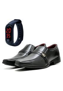 Sapato Social Elegant Com Relógio Led Fine Dubuy 806La Preto