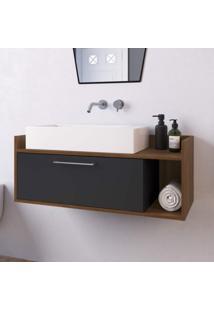 Gabinete Para Banheiro 1 Porta Bartolomeu Estilare Móveis Preto/Madeirado