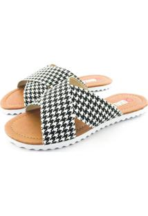 Rasteirinha Quality Shoes 008 Quadriculado Preto E Branco - Kanui