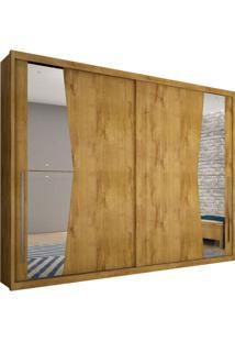 Guarda-Roupa Casal Com Espelho Geom 2 Pt Freijó Dourado