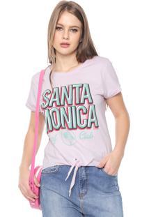 Camiseta Fiveblu Santa Mônica Aplicações Rosa