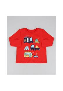 Camiseta Infantil Carrinhos Manga Longa Gola Careca Vermelha