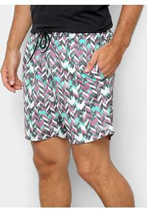 Bermuda Mood Elástico Masculina - Masculino-Roxo+Verde