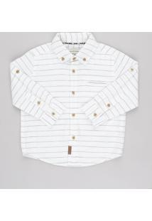 Camisa Infantil Em Linho Listrada Com Bolso E Martingale Manga Longa Off White