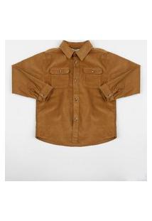 Camisa Em Veludo Infantil Estampada Com Bolsos Caramelo