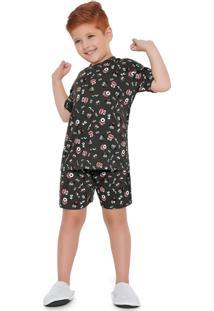 Conjunto Pijama Curto Estampado Monsters Cinza