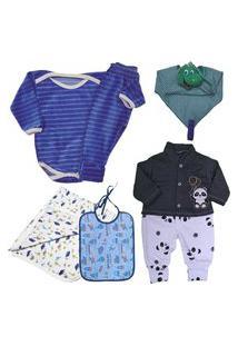 Enxoval Roupas De Bebê Kit 6 Pç Macacão Suedine Body E Mijão Azul