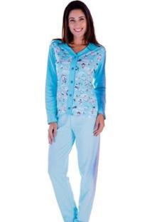 Pijama Victory Feminino Inverno Longo Aberto - Feminino-Azul Claro