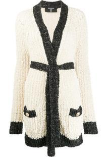 Balmain Casaco De Tricô Com Detalhe Em Paetês - Neutro