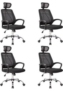 Conjunto Com 4 Cadeiras De Escritório Diretor Giratórias Light Preto